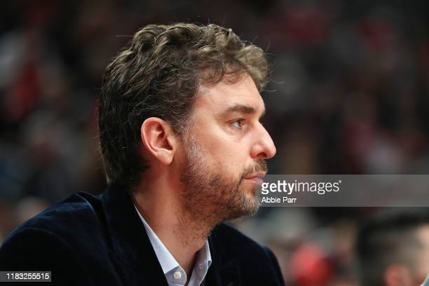 Pau Gasol of the Portland Trail Blazers looks on against the Denver Nuggets in the first quarter during their season opener at Moda Center on October...