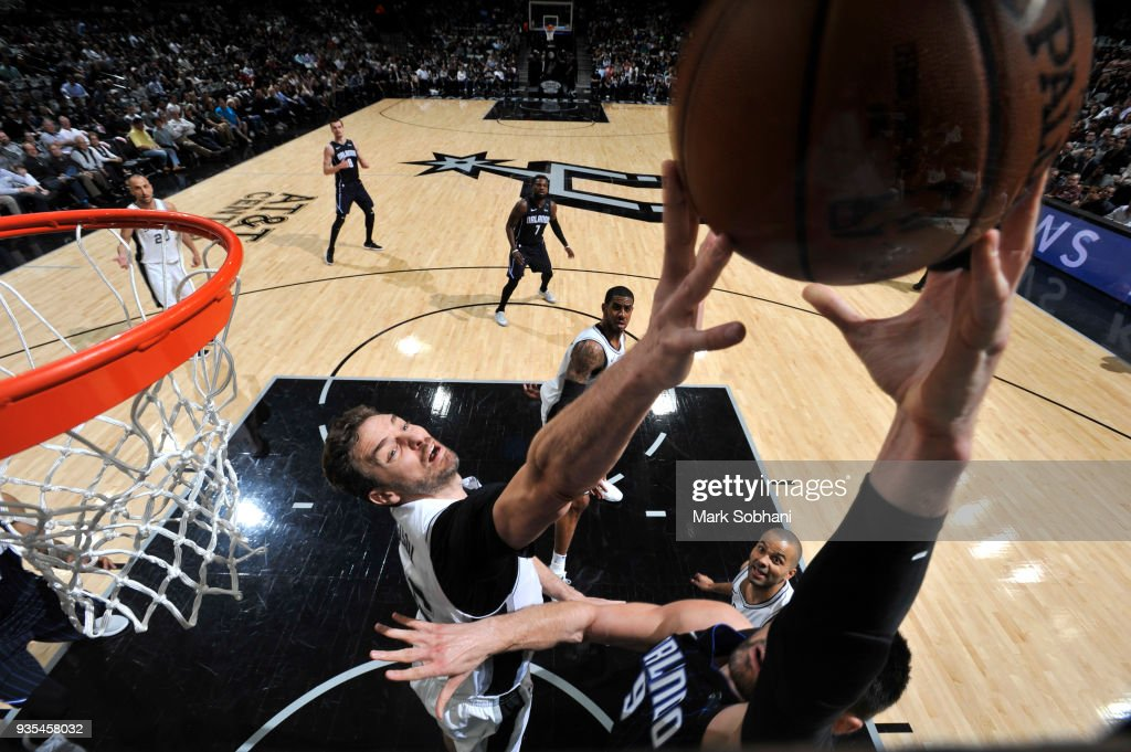 Pau Gasol #16 of the San Antonio Spurs blocks a shot against the Orlando Magic on March 13, 2018 at the AT&T Center in San Antonio, Texas.