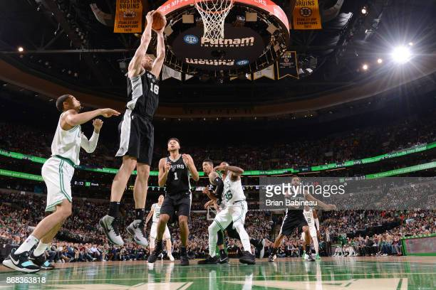 Pau Gasol of the San Antonio Spurs drives to the basket against the Boston Celtics on October 30 2017 at the TD Garden in Boston Massachusetts NOTE...