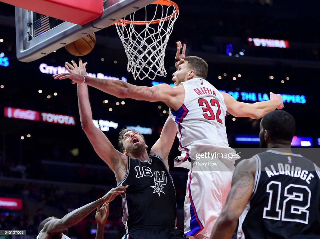 Pau Gasol #16 of the San Antonio Spurs is fouled by Blake Griffin #32 of the LA Clippers during a 105-97 Spurs win at Staples Center on February 24, 2017 in Los Angeles, California.
