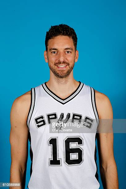 Pau Gasol of the San Antonio Spurs poses for a headshot during the 20162017 San Antonio Spurs Media Day at the Spurs Training Facility on September...