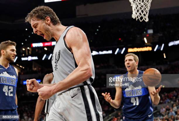 Pau Gasol of the San Antonio Spurs reacts after a basket and a foul by Dirk Nowitzki of the Dallas Mavericks at ATT Center on November 27 2017 in San...