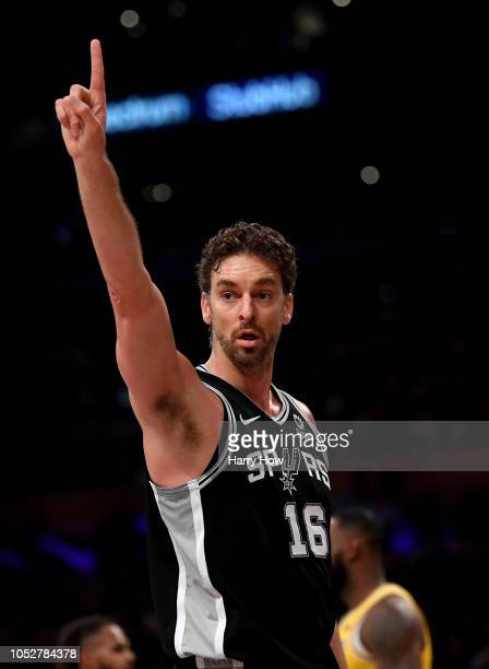 Pau Gasol of the San Antonio Spurs reacts to his foul during the first half against the Los Angeles Lakers at Staples Center on October 22, 2018 in...