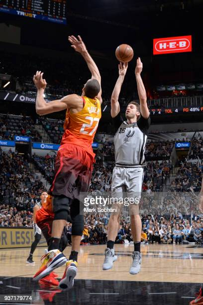 Pau Gasol of the San Antonio Spurs shoots the ball against the Utah Jazz on March 23 2018 at the ATT Center in San Antonio Texas NOTE TO USER User...
