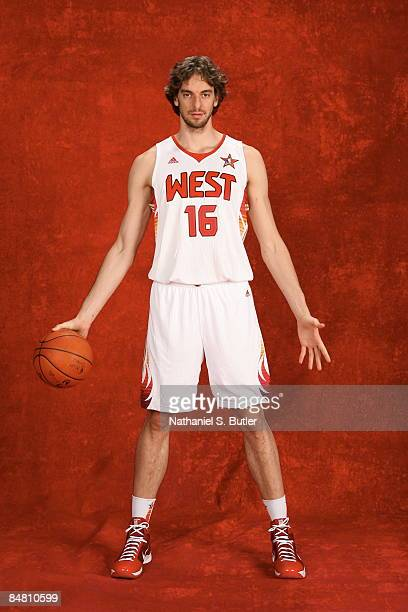 Pau Gasol of the Western Conference poses for a portrait prior to the 2009 NBA AllStar Game on February 15 2009 at the US Airways Arena in Phoenix...