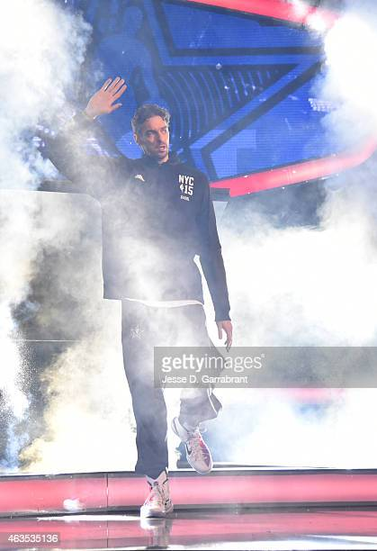 Pau Gasol playing for the East Coast allstars comes out to the crowd prior to the game the 2015 NBA AllStar Game at Madison Square Garden on February...