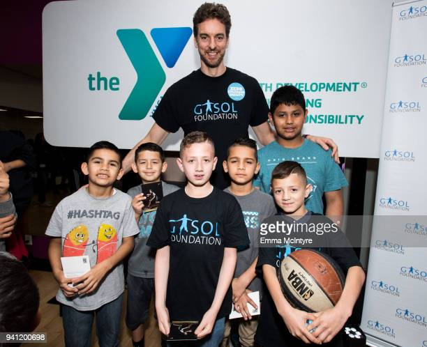 Pau Gasol visits Weingart East Los Angeles YMCA to announce a new partnership between the Gasol Foundation and YMCA Metropolitan Los Angeles on April...