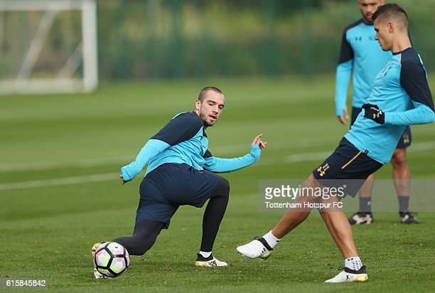 Pau Lopez and Erik Lamela of Tottenham during the Tottenham Hotspur training session at Tottenham Hotspur Training Centre on October 20 2016 in...