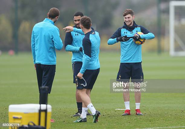 Pau Lopez, Cameron Carter-Vickers, Kieran Trippier and Ben Davies of Tottenham during the Tottenham Hotspur training session at Tottenham Hotspur...