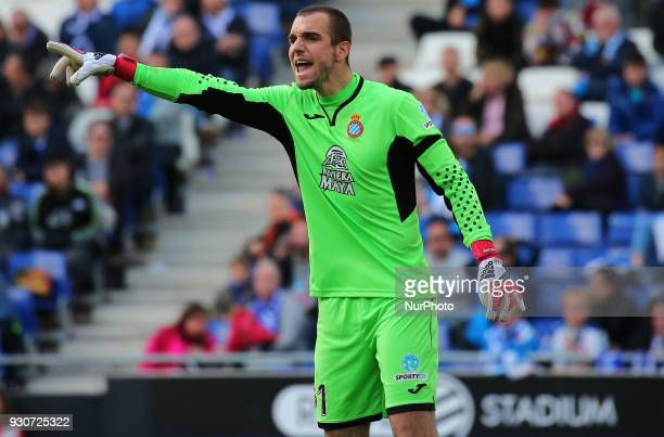 Pau Lopez during the match between RCD Espanyol and Real Sociedad for the round 28 of the Liga Santander played at the RCD Espanyol Stadium on 11th...