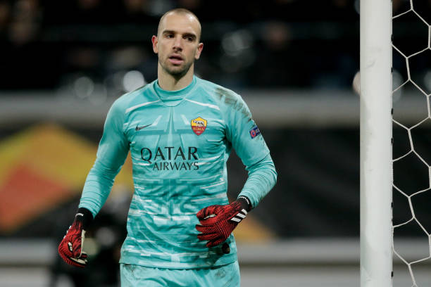 Pau Lopez of AS Roma during the UEFA Europa League match between Gent v AS Roma at the Ghelamco Arena on February 27 2020 in Gent Belgium