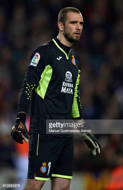 Pau Lopez of Espanyol looks on during the Spanish Copa del Rey Quarter Final Second Leg match between Barcelona and Espanyol at Camp Nou on January...