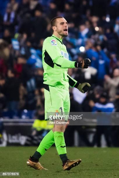 Pau Lopez of RCD Espanyol celebrates after the La Liga match between Espanyol and Atletico Madrid at RCDE Stadium on December 22 2017 in Barcelona...