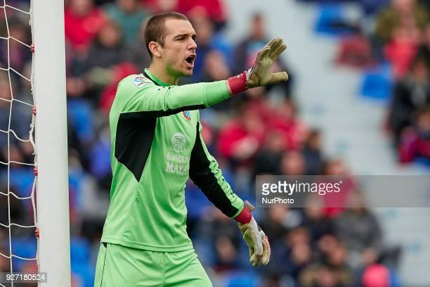 Pau Lopez of RCD Espanyol reacts during the La Liga match between Levante UD and RCD Espanyol at Ciutat de Valencia on March 4 2018 in Valencia Spain