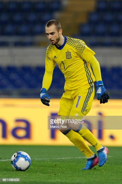Pau Lopez of Spain U21 during the international friendly match between Italy U21 and Spain U21 at Olimpico Stadium on March 27 2017 in Rome Italy