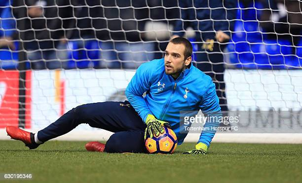 Pau Lopez of Tottenham Hotspur warms up prior to kick off during the Premier League match between Tottenham Hotspur and Burnley at White Hart Lane on...