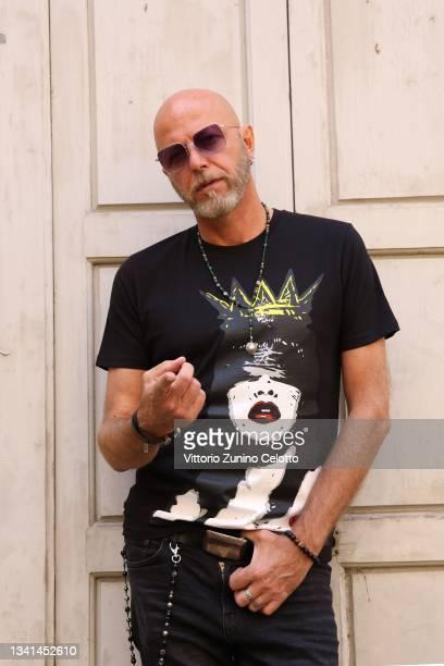 Pau of Negrita poses during the Carlo Pignatelli presentation during the Milan Fashion Week - Spring / Summer 2021 on September 20, 2021 in Milan,...