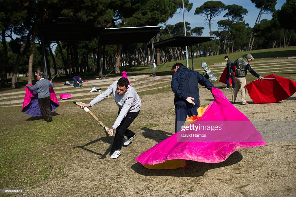 Pau Piriz (L), 33, practices bullfighting in a city park in Santa Perpetua de la Mogoda on March 3, 2013 in Barcelona, Spain. On February 12 the Spanish Parliament accepted a petition from bullfight supporters asking for the sport to become a key part of the Spain's cultural heritage. The petition, of 590,000 signatures, has been promoted by the Federation of Bullfighting Entities of Catalonia. The last bullfight in Catalonia was held in September 25, 2011.