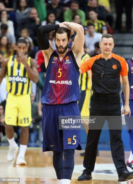 Pau Ribas #5 of FC Barcelona Lassa after the 2017/2018 Turkish Airlines EuroLeague Regular Season Round 20 game between Fenerbahce Dogus Istanbul and...
