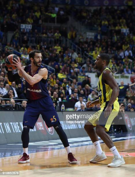 Pau Ribas #5 of FC Barcelona Lassa and Brad Wanamaker #11 of Fenerbahce Dogus in action during the 2017/2018 Turkish Airlines EuroLeague Regular...