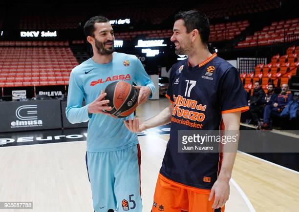 Pau Ribas #5 of FC Barcelona Lassa and Rafa Martinez #17 of Valencia Basket talking before the 2017/2018 Turkish Airlines EuroLeague Regular Season...