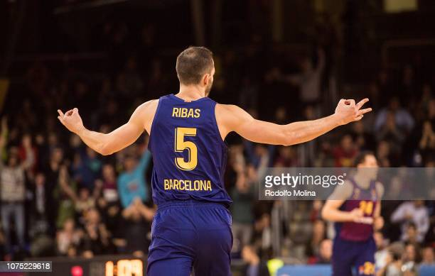 Pau Ribas #5 of FC Barcelona Lassa celebrates after scorer during the 2018/2019 Turkish Airlines EuroLeague Regular Season Round 15 game between FC...