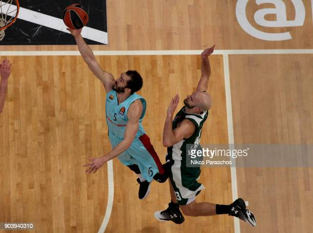 Pau Ribas #5 of FC Barcelona Lassa competes with Nick Calathes #33 of Panathinaikos Superfoods Athens during the 2017/2018 Turkish Airlines...