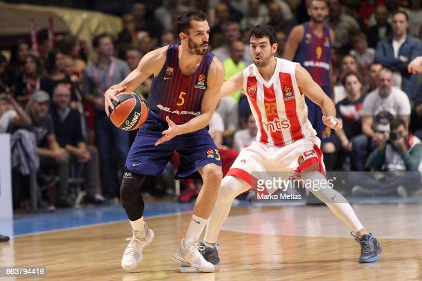 Pau Ribas #5 of FC Barcelona Lassa competes with Taylor Rochestie #22 of Crvena Zvezda mts Belgrade during the 2017/2018 Turkish Airlines EuroLeague...