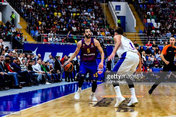 Pau Ribas #5 of FC Barcelona Lassa in action against Nando De Colo #1 of CSKA Moscow in the Turkish Airlines Euroleague Opening game of the 20182019...