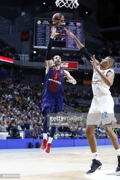 Pau Ribas #5 of FC Barcelona Lassa in action during the 2017/2018 Turkish Airlines EuroLeague Regular Season Round 12 game between Real Madrid and FC...