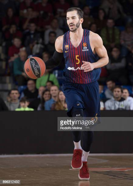 Pau Ribas #5 of FC Barcelona Lassa in action during the 2017/2018 Turkish Airlines EuroLeague Regular Season Round 13 game between FC Barcelona Lassa...