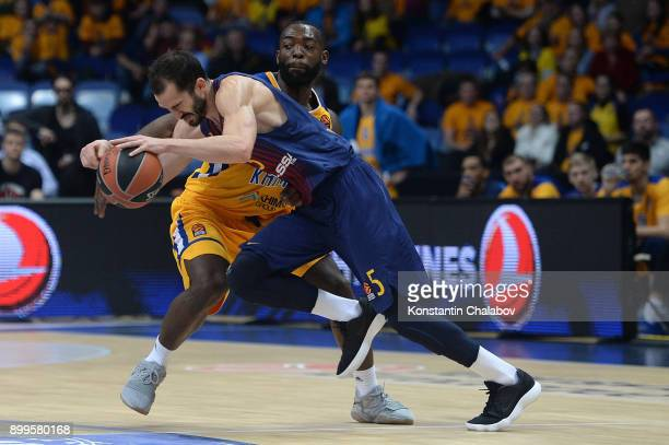 Pau Ribas #5 of FC Barcelona Lassa in action during the 2017/2018 Turkish Airlines EuroLeague Regular Season Round 15 game between Khimki Moscow...