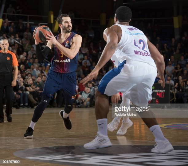 Pau Ribas #5 of FC Barcelona Lassa in action during the 2017/2018 Turkish Airlines EuroLeague Regular Season Round 16 game between FC Barcelona Lassa...