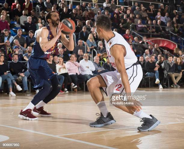 Pau Ribas #5 of FC Barcelona Lassa in action during the 2017/2018 Turkish Airlines EuroLeague Regular Season Round 19 game between FC Barcelona Lassa...