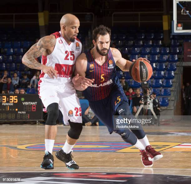 Pau Ribas #5 of FC Barcelona Lassa in action during the 2017/2018 Turkish Airlines EuroLeague Regular Season Round 21 game between FC Barcelona Lassa...