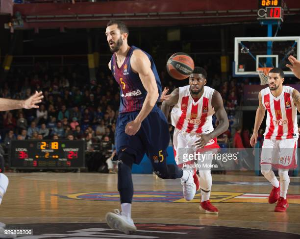 Pau Ribas #5 of FC Barcelona Lassa in action during the 2017/2018 Turkish Airlines EuroLeague Regular Season Round 25 game between FC Barcelona Lassa...