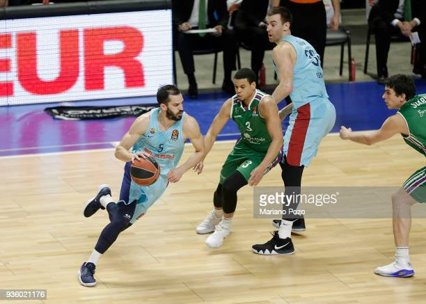 Pau Ribas #5 of FC Barcelona Lassa in action during the 2017/2018 Turkish Airlines EuroLeague Regular Season Round 27 game between Unicaja Malaga and...