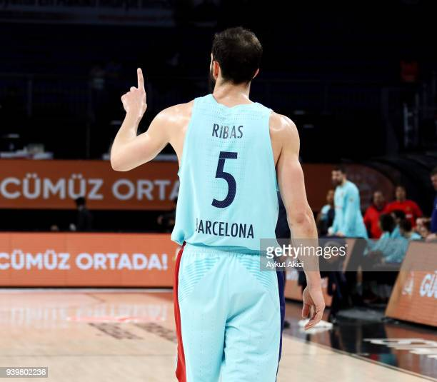 Pau Ribas #5 of FC Barcelona Lassa in action during the 2017/2018 Turkish Airlines EuroLeague Regular Season Round 29 game between Anadolu Efes...