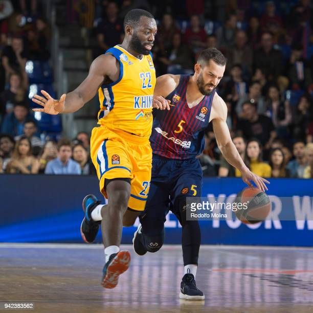 Pau Ribas #5 of FC Barcelona Lassa in action during the 2017/2018 Turkish Airlines EuroLeague Regular Season Round 30 game between FC Barcelona Lassa...