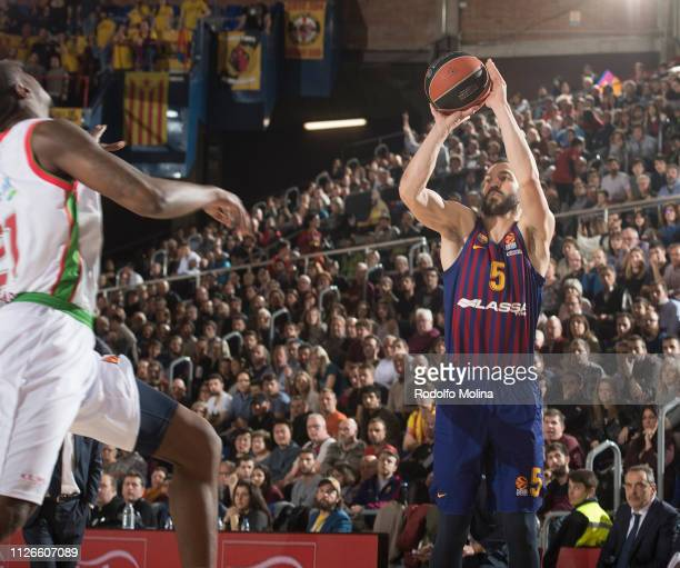 Pau Ribas #5 of FC Barcelona Lassa in action during the 2018/2019 Turkish Airlines EuroLeague Regular Season Round 23 game between FC Barcelona Lassa...
