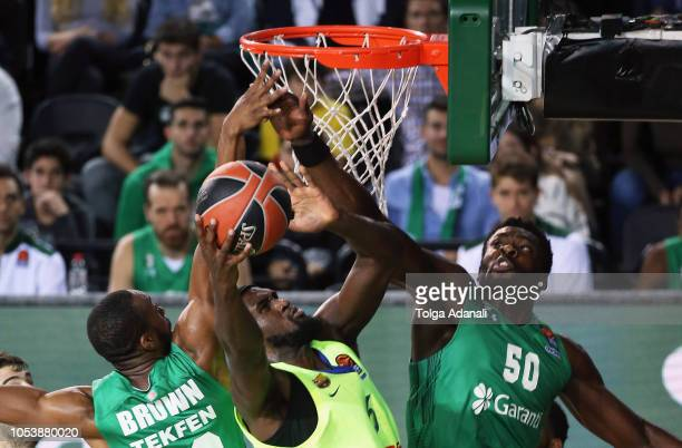 Pau Ribas #5 of FC Barcelona Lassa in action with Micheal Eric #50 of Darussafaka Tekfen Istanbul during the 2018/2019 Turkish Airlines EuroLeague...
