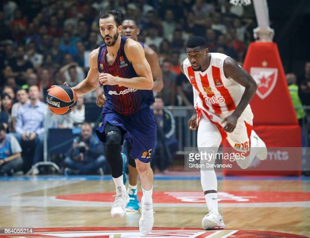 Pau Ribas of Barcelona in action against Mathias Lessort of Crvena Zvezda during the 2017/2018 Turkish Airlines EuroLeague Regular Season game...