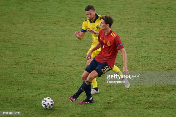Pau Torres of Spain and Bengt Erik Markus Berg of Sweden during the match between Spain and Sweden of Euro 2020, group E, matchday 1, played at La...