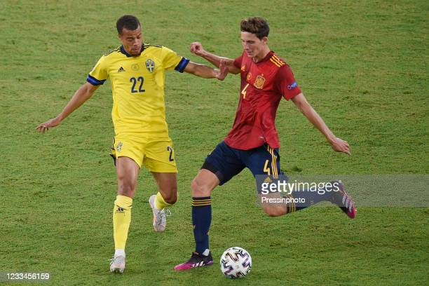 Pau Torres of Spain and Robin Quaison of Sweden during the match between Spain and Sweden of Euro 2020, group E, matchday 1, played at La Cartuja...