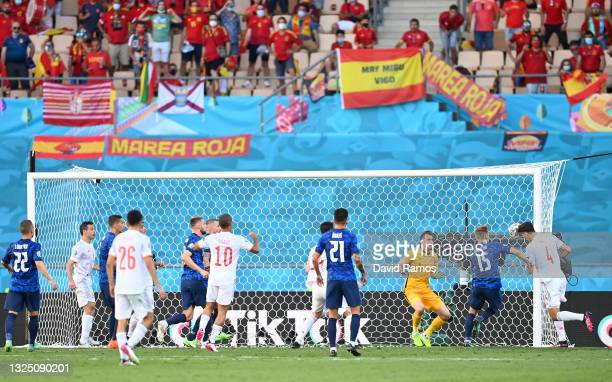 Pau Torres of Spain scores their side's fifth goal past Martin Dubravka of Slovakia during the UEFA Euro 2020 Championship Group E match between...