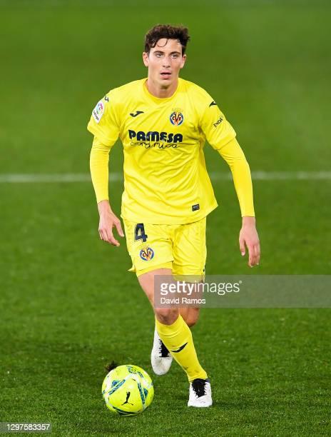 Pau Torres of Villarreal CF runs with the ball during the La Liga Santander match between Villarreal CF and Granada CF at Estadio de la Ceramica on...