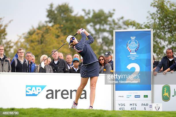Paua Creamer of the United States Team shots the ball at the 2nd tee during the Sundays single matches in the 2015 Solheim Cup at St LeonRot Golf...