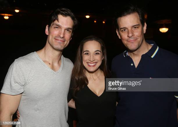 Paul A Schaefer Elizabeth Welch and Jeremy Stolle pose at the 32nd Anniversary Performance and Party for The Phantom of The Opera on Broadway at The...