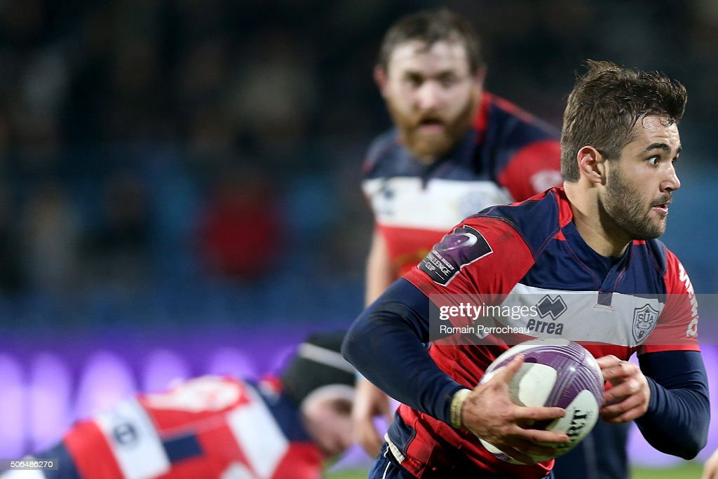 PAul Abadie for Agen in action during the European Rugby Challenge Cup match between Agen and London Irish at stade Armandie on January 23, 2016 in Agen, France.