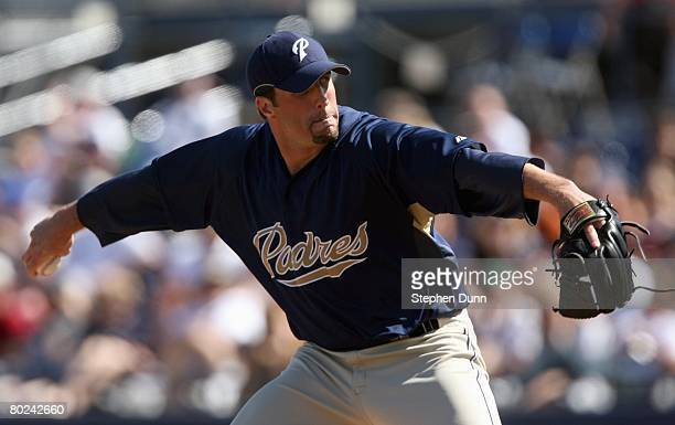 Paul Abraham of the San Diego Padres delivers the pitch against the Seattle Mariners on March 2 2008 at Peoria Sports Complex in Peoria Arizona The...